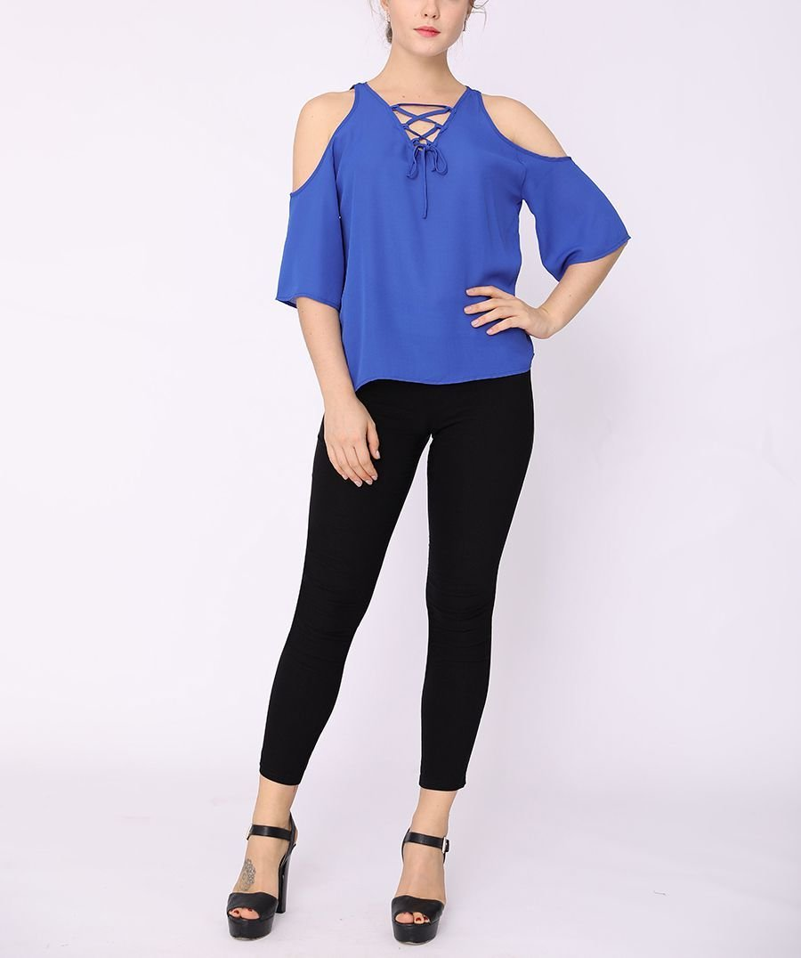 Cold Shoulder Top with Laced Front Neckline