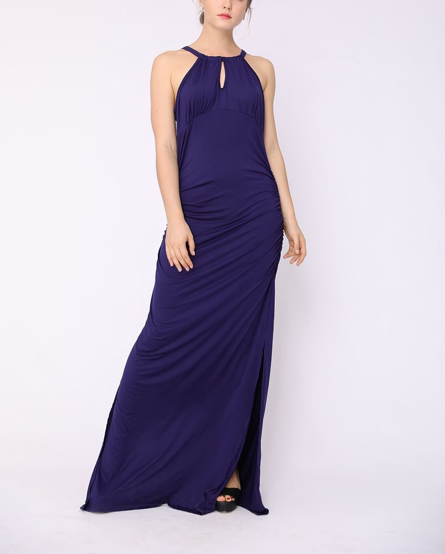 Long Formal Dress with Gathered Neckline