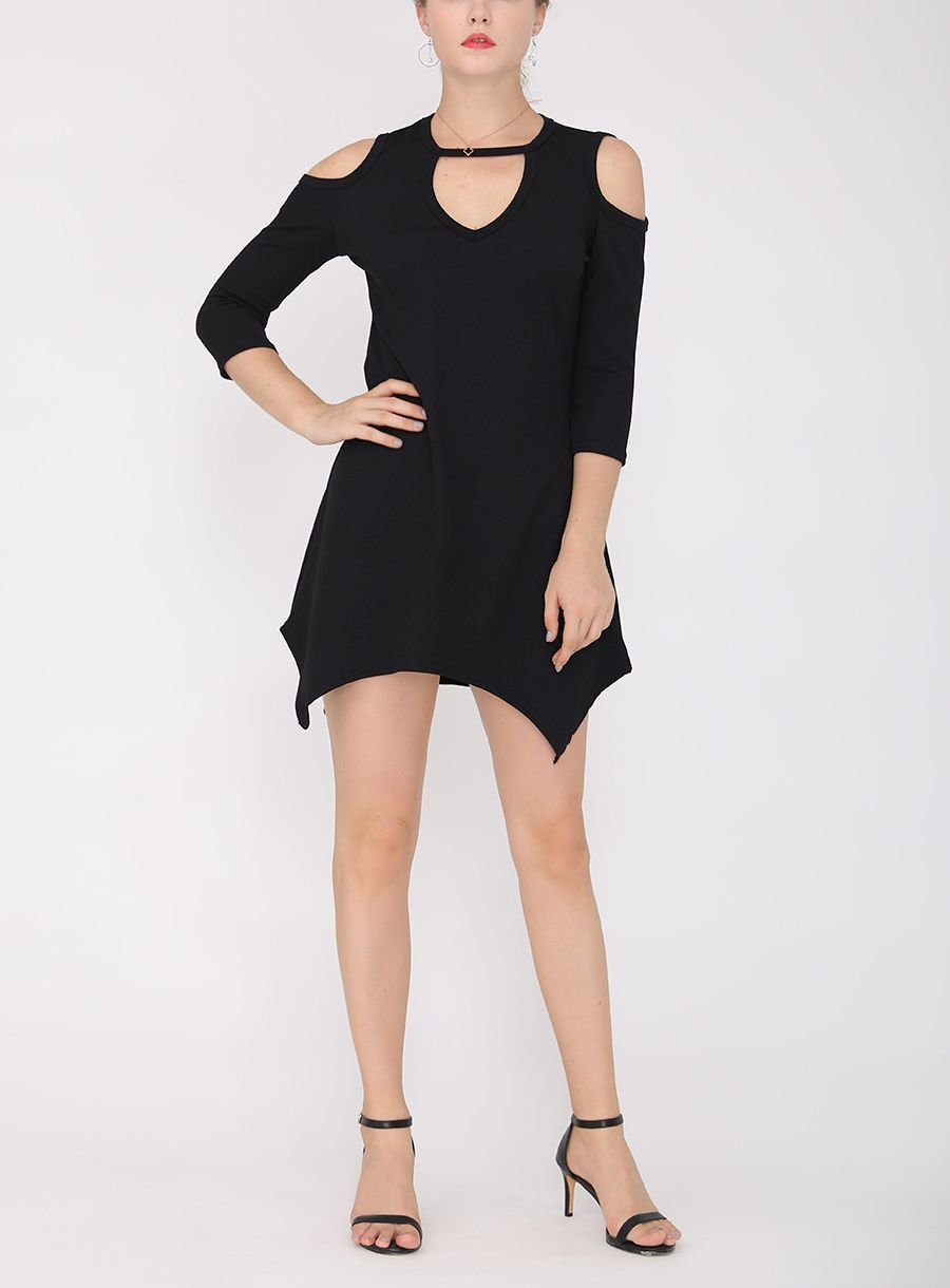 Mini Club Dress with Cold Shoulders