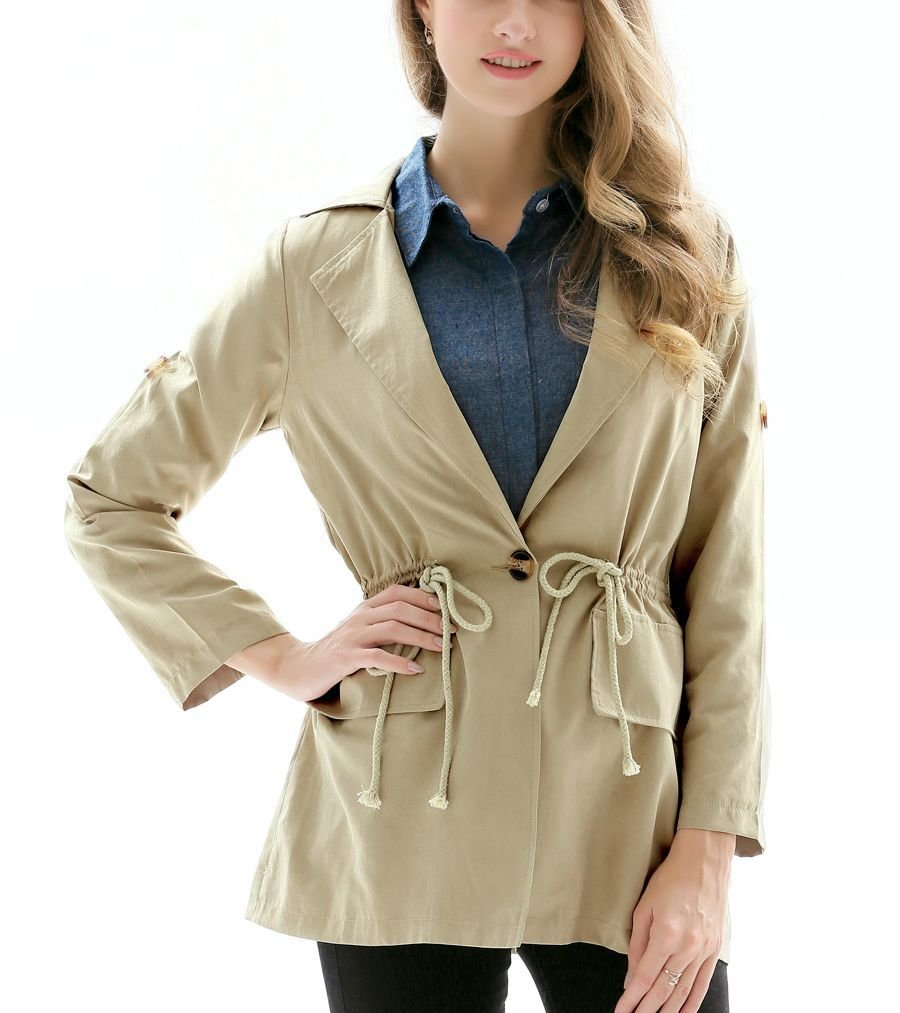 Casual Coat with Drawstrings and Cargo Pockets