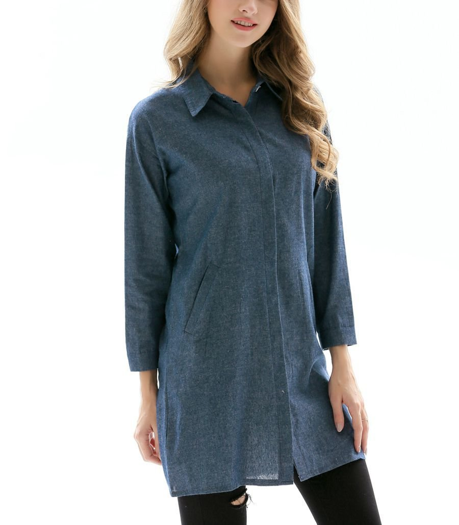Shirt Style Tunic Top with Pockets