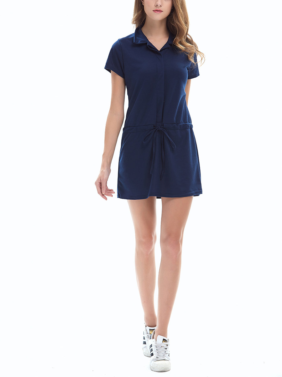 Casual Dress with Drawstring Dropped Waist