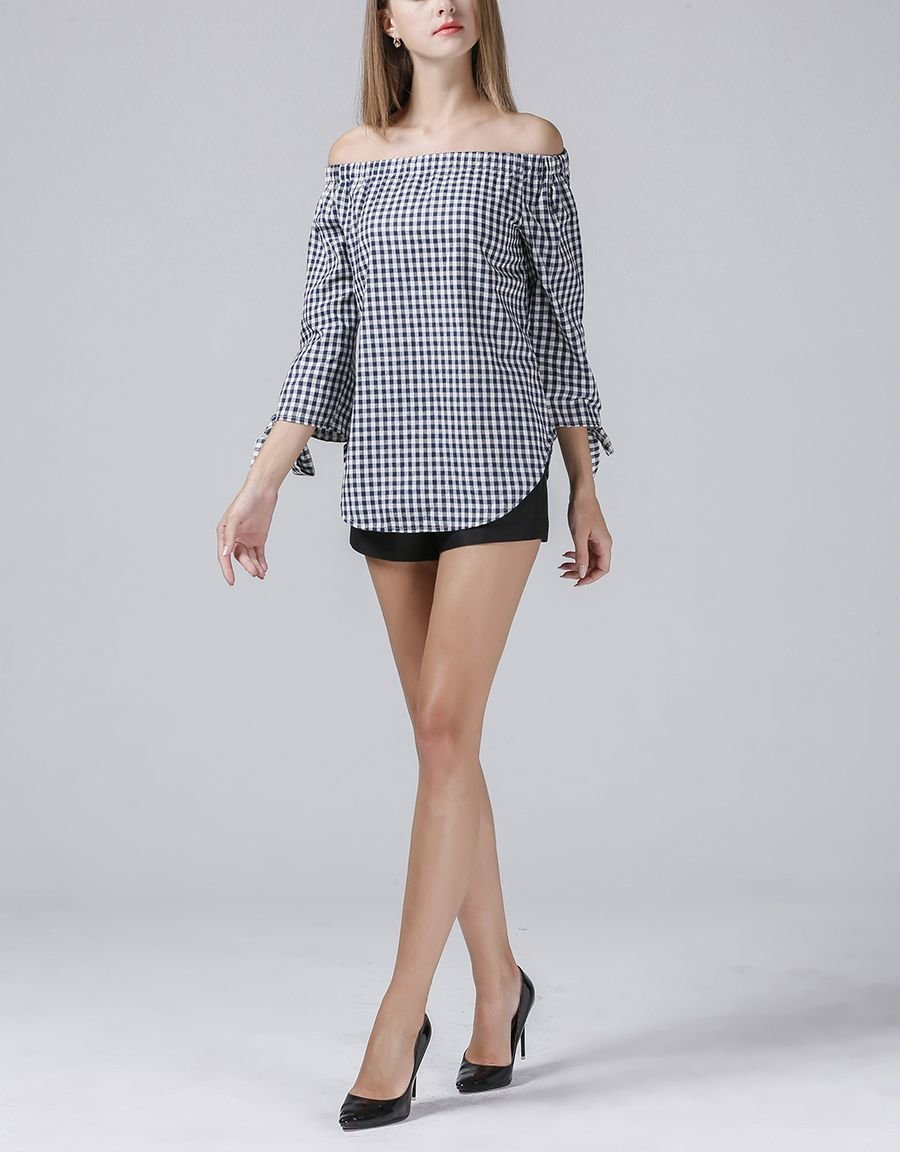 Off-Shoulder Top in Checked Cotton Blend Fabric
