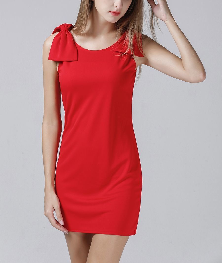 Mini Cocktail Dress with Shoulder Bows