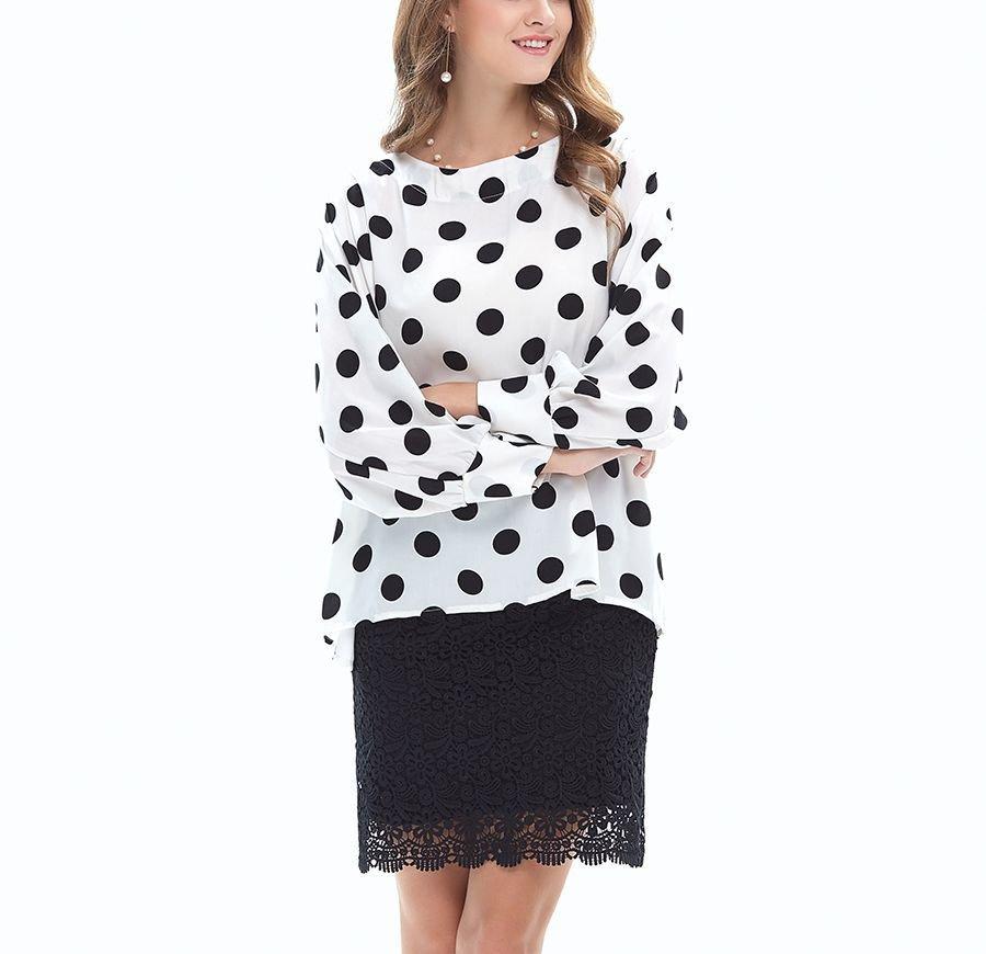Polka Dot Top with Long, Full Sleeves