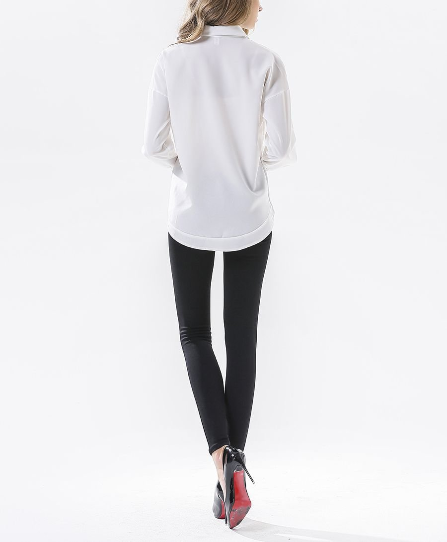 Long-Sleeved Top with Cropped Front