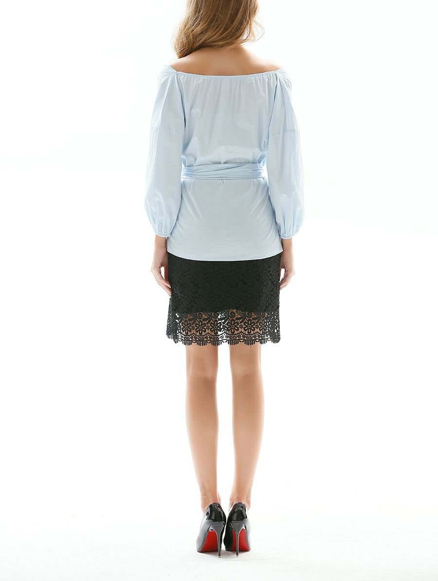 Loose, Belted Top with Wide Portrait Collar