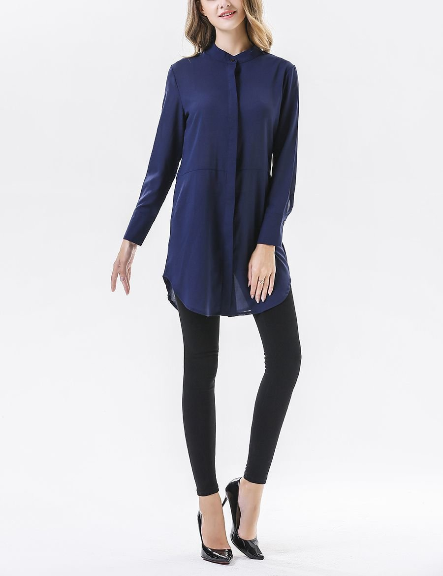 Chiffon Tunic Top with Concealed Button Front