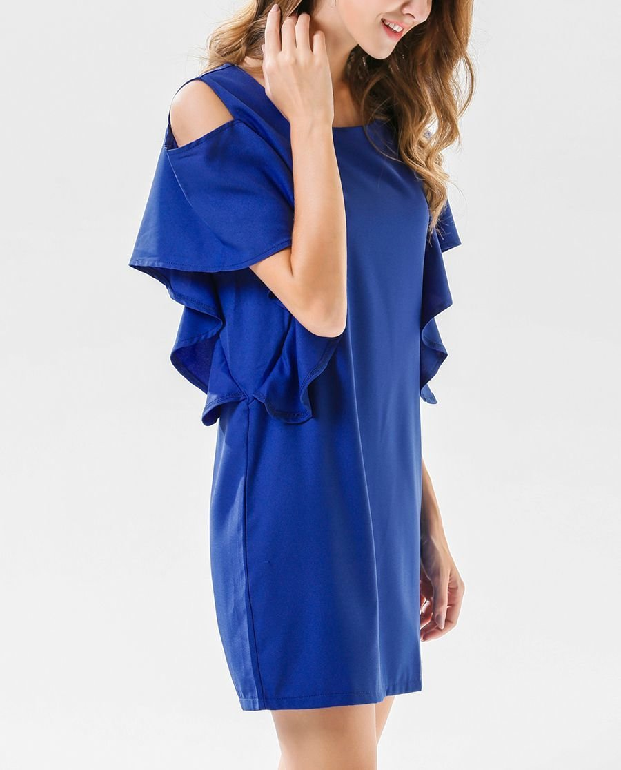 Cold Shoulder Mini Cocktail Dress with Ruffle Sleeves