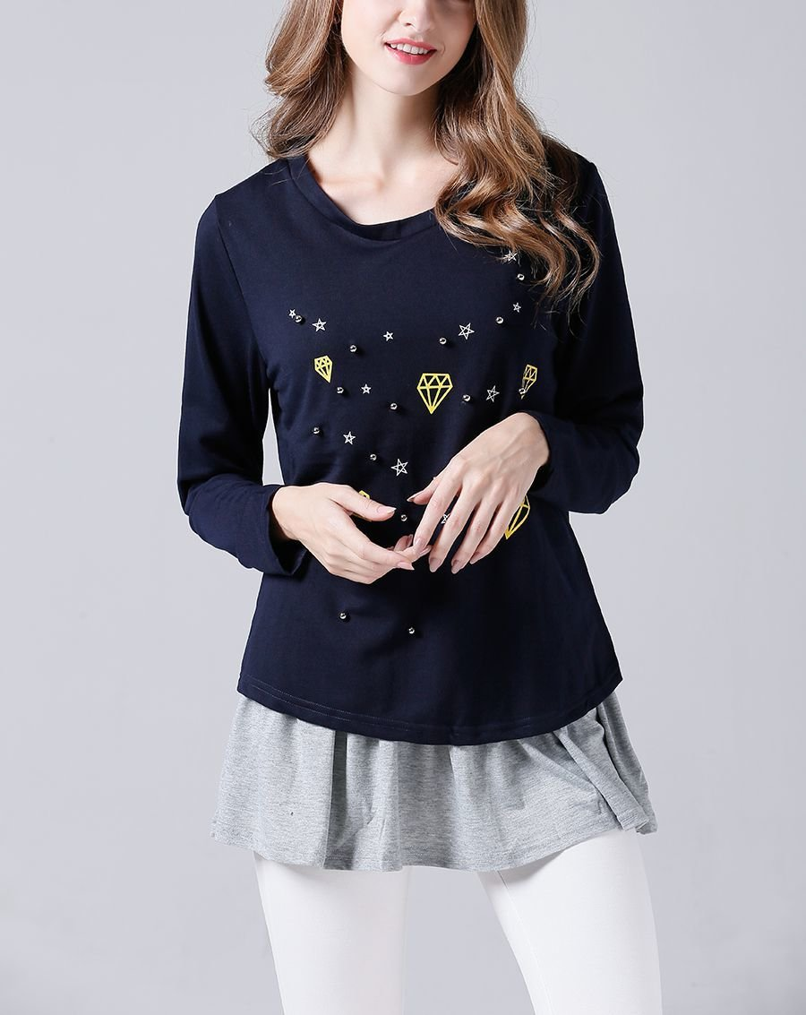 Casual Knit Top with Studs and Printed Designs