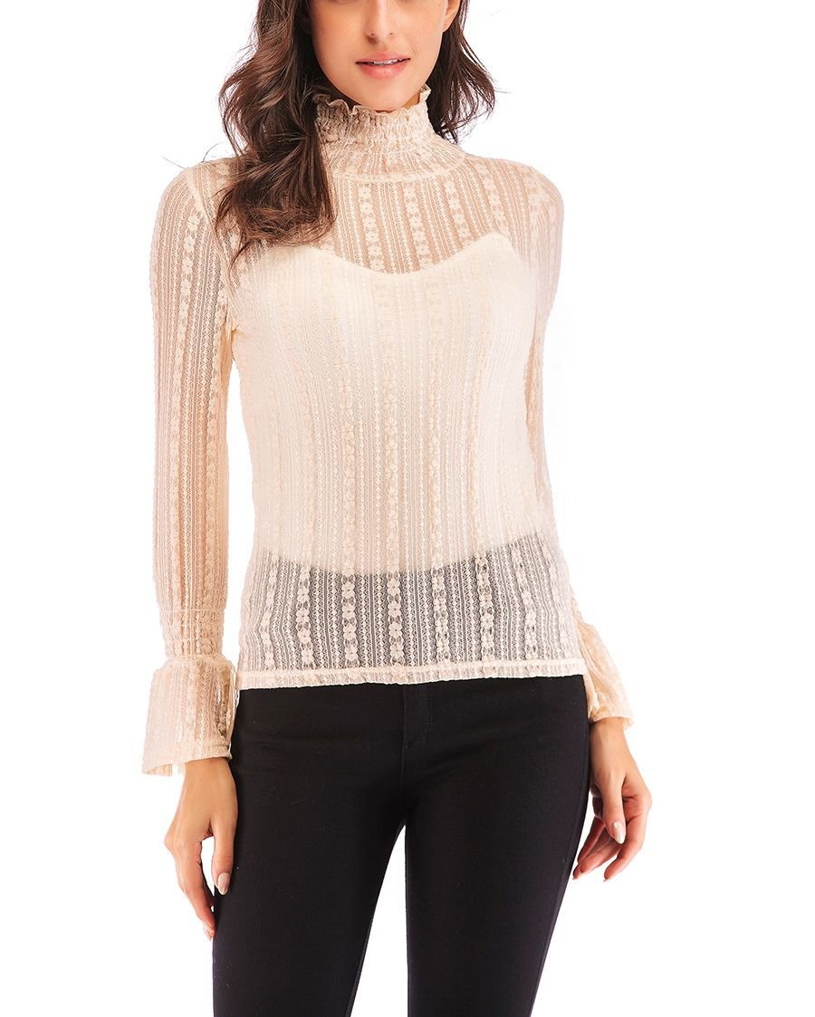 Sheer Lace Top with Ruffled Collar and Cuffs