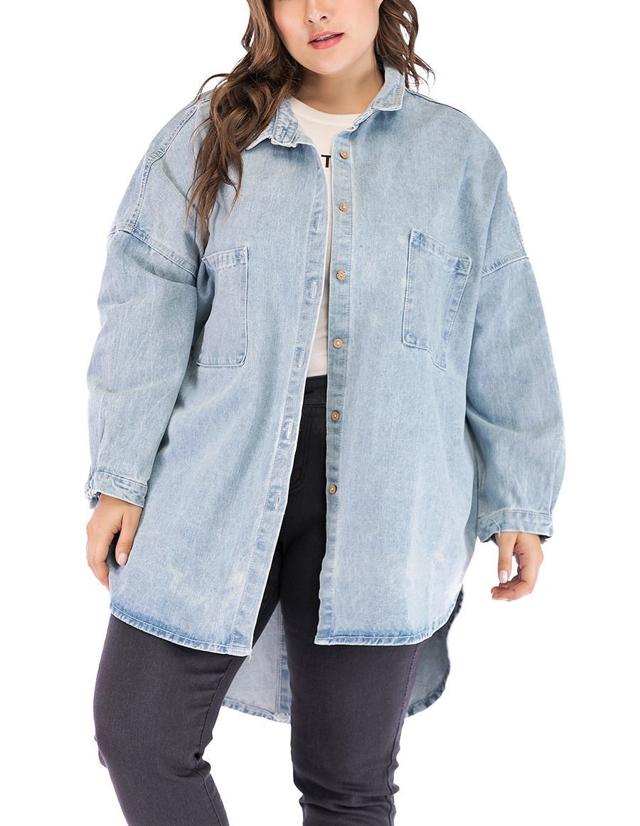 Denim Casual Top with Buttoned Front and Back