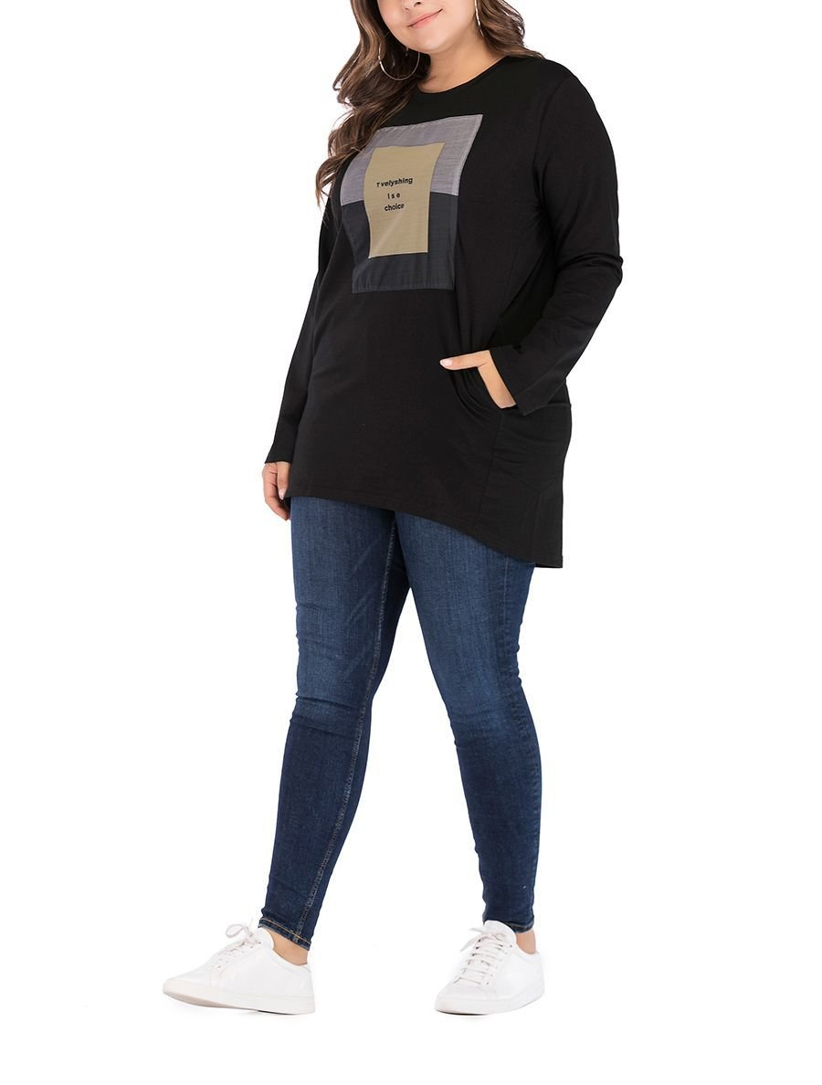 Plus Size Knit Tee with Pockets