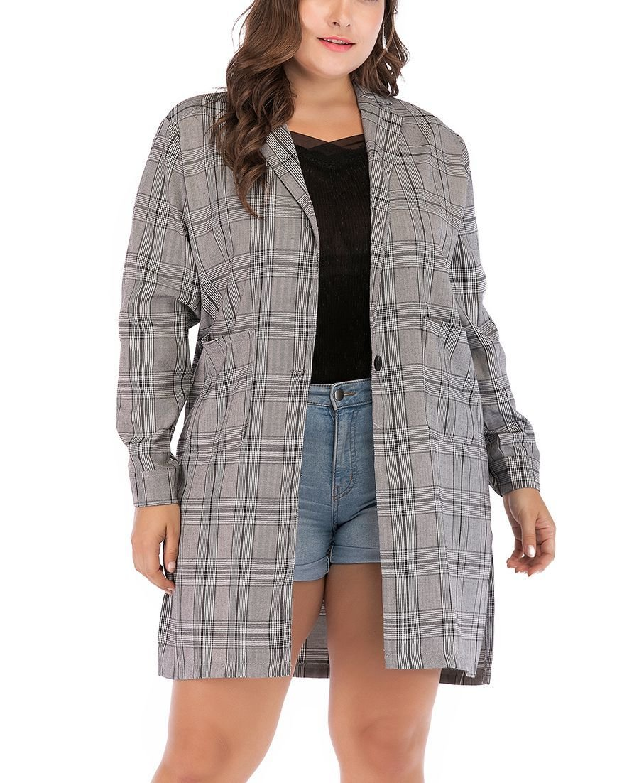 Plus Size Plaid Coat in Cotton Blend Fabric