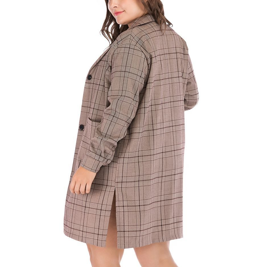 Plus Size Plaid Coat in Cotton Blend Fabric