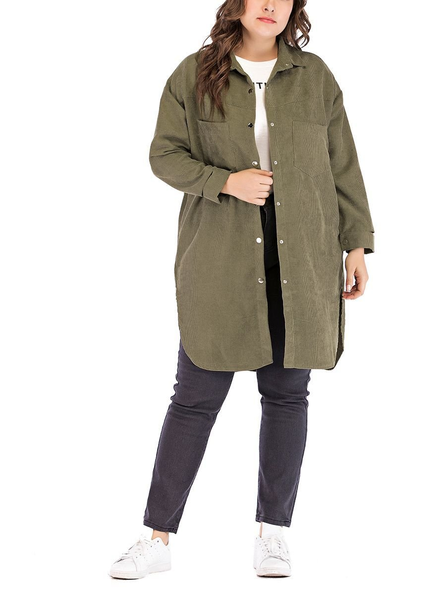 Corduroy Coat with Patch Pockets