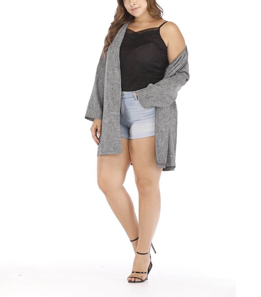 Plus Size Coat with Roll-Up Sleeves