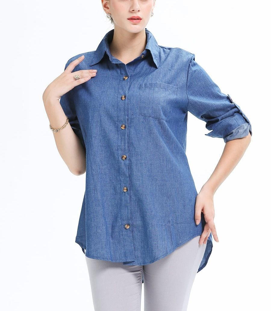 Denim Top with Roll-Up Sleeves