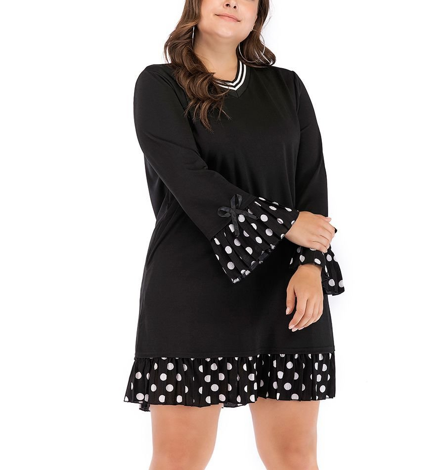 Casual Dress with Stripes and Polka Dots