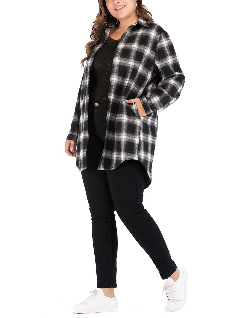 Plaid Flannel Top in Plus Sizes