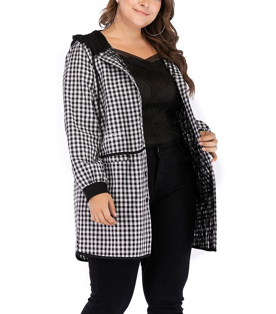 Checked Hooded Jacket in Plus Sizes