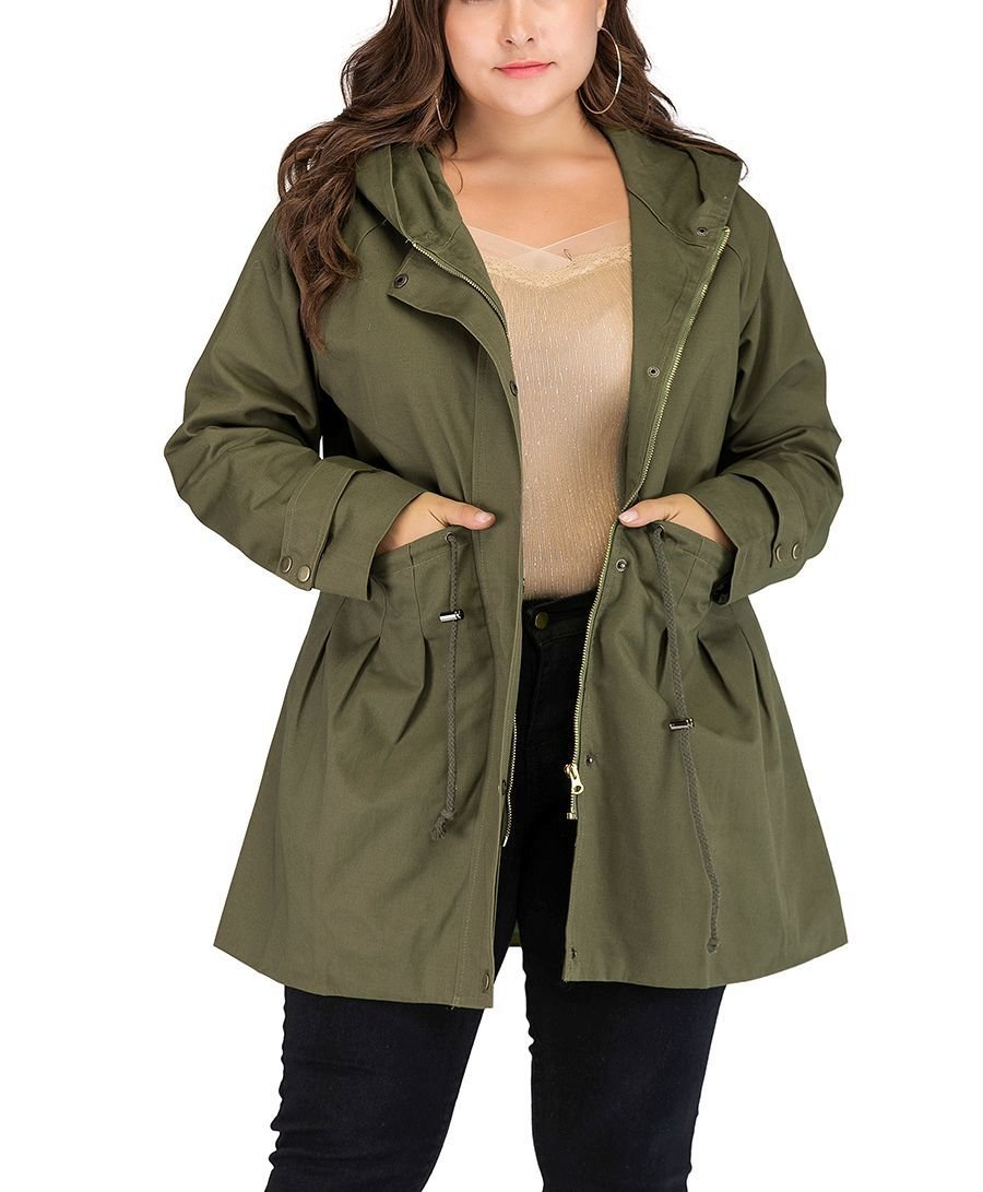 Casual Coat with Hood and Storm Flap