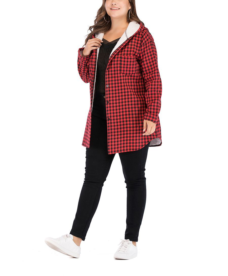 Checked Coat with Hood and Chest Pocket