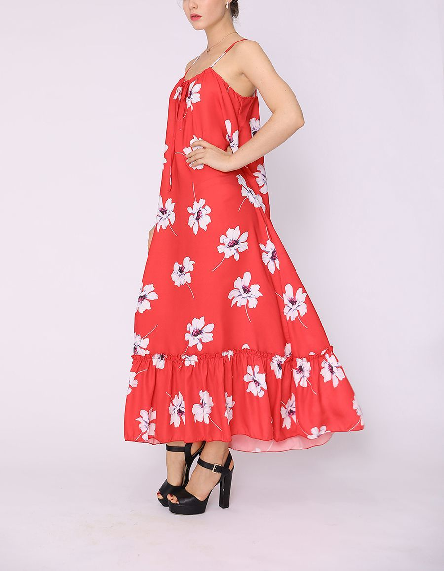 Long Cocktail Dress with Deep Ruffled Hem