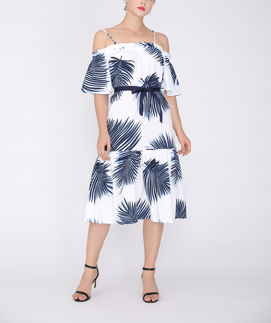 Off-Shoulder Cocktail Dress with Ruffle Hem