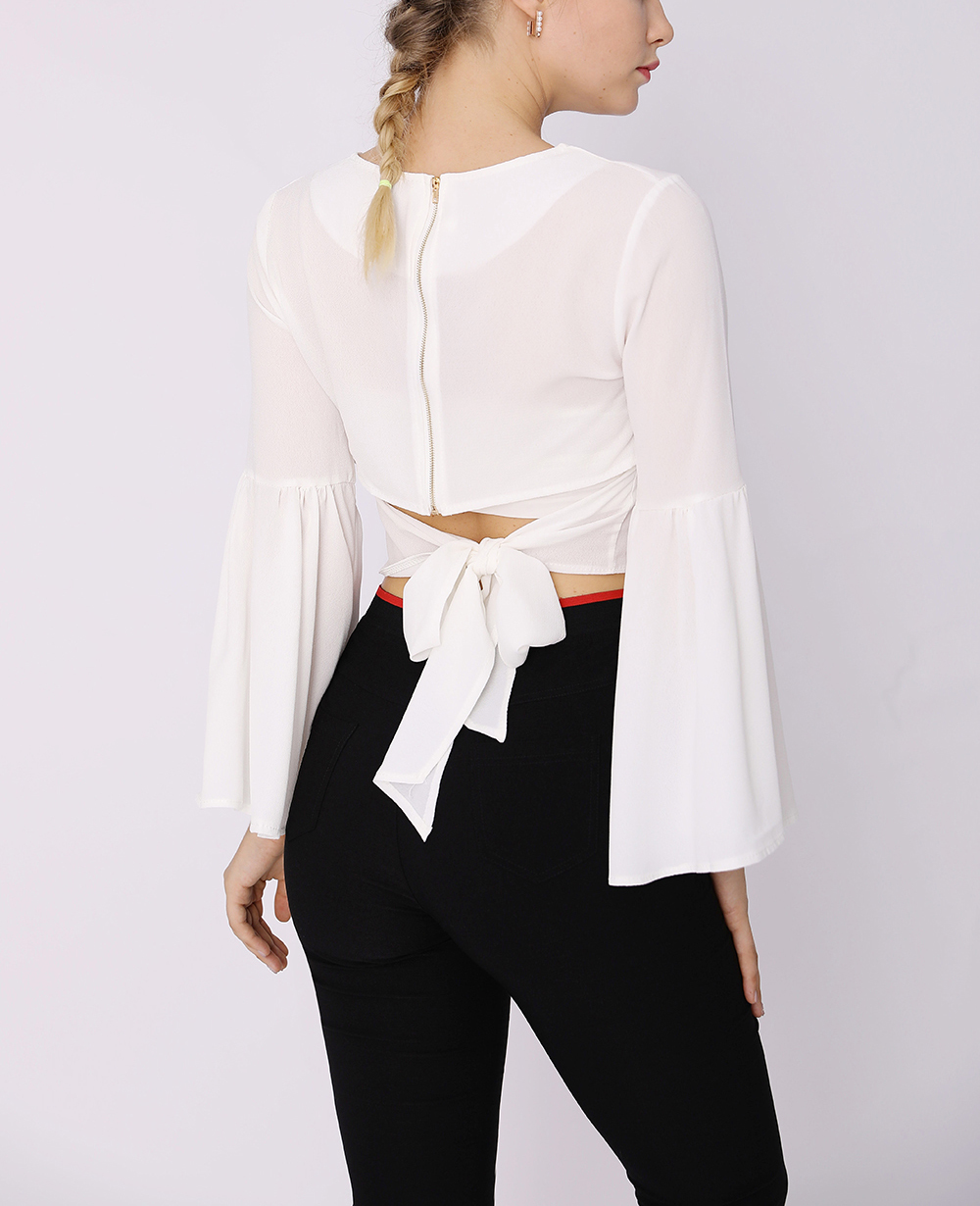 Cropped Top with Long Bell Sleeves