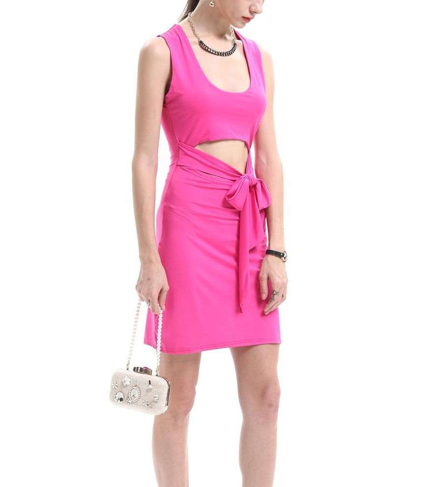 Club Dress with Front Cutout and Tie