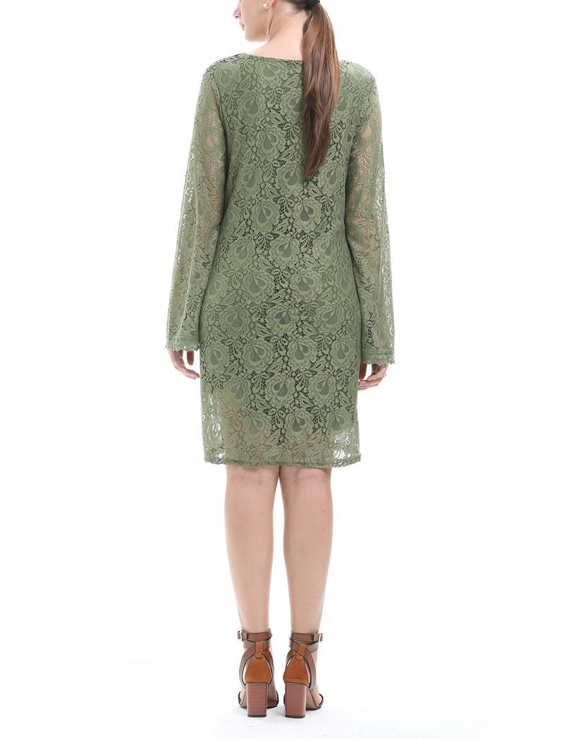 Lace Cocktail Dress with Long Flared Sleeves