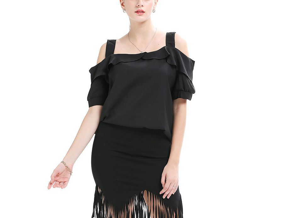 Cold Shoulder Top with Wide Straps and Ruffle Neckline