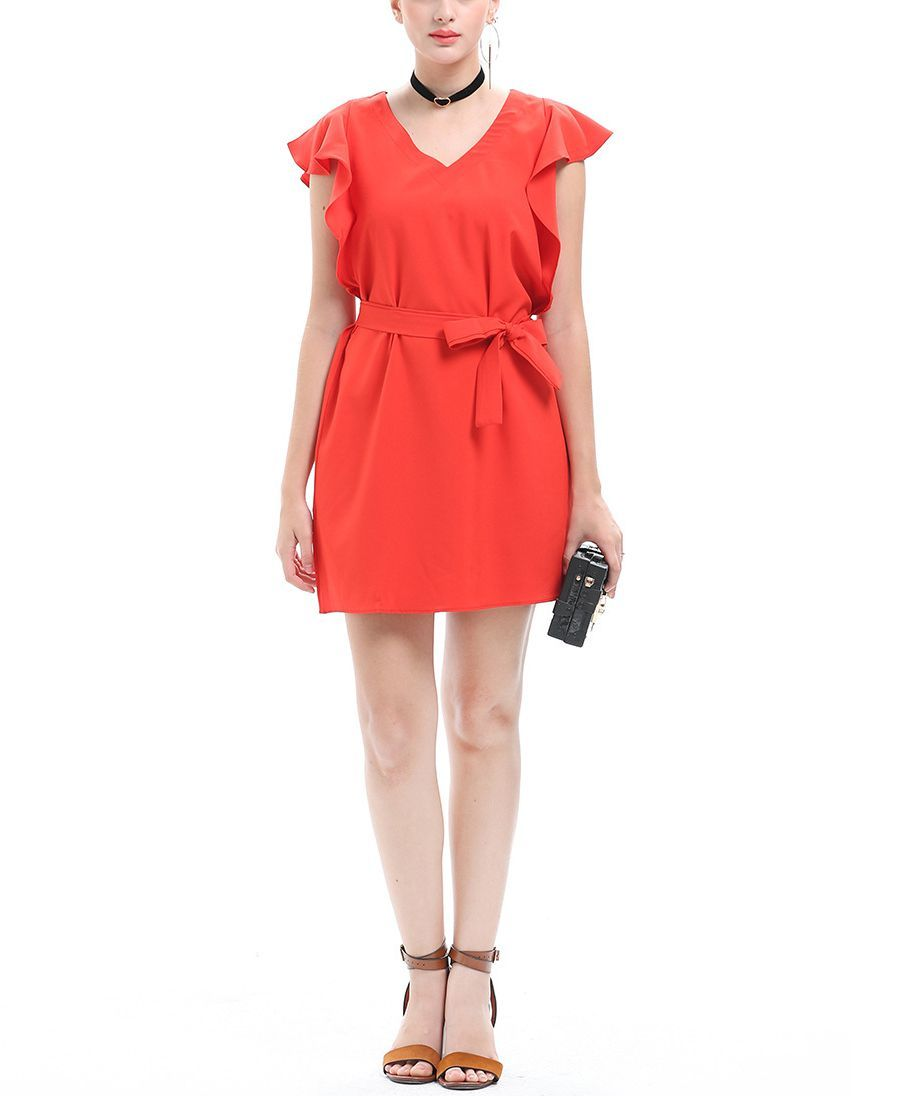 Belted Club Dress with Flutter Sleeves