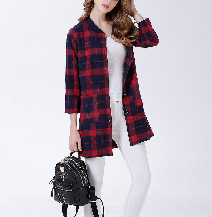 Plaid Coat with Buttoned Front