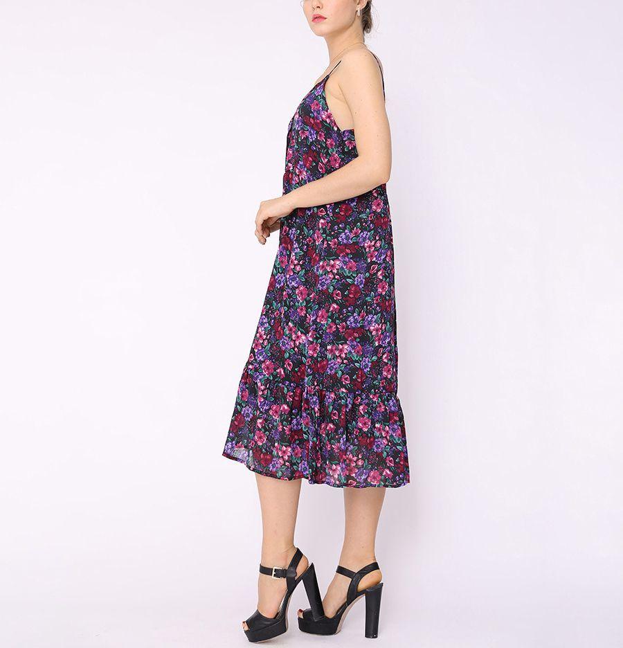 Chiffon Print Cocktail Dress in Tea Length