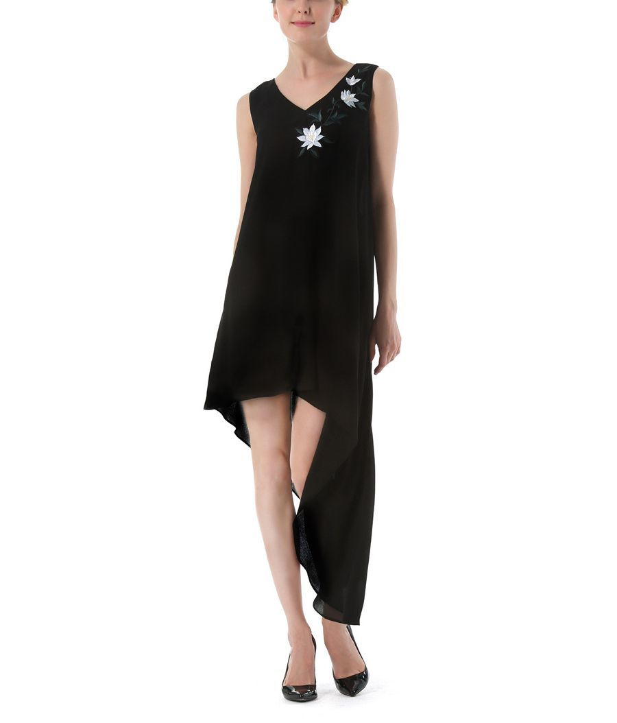 Embroidered Chiffon Cocktail Dress
