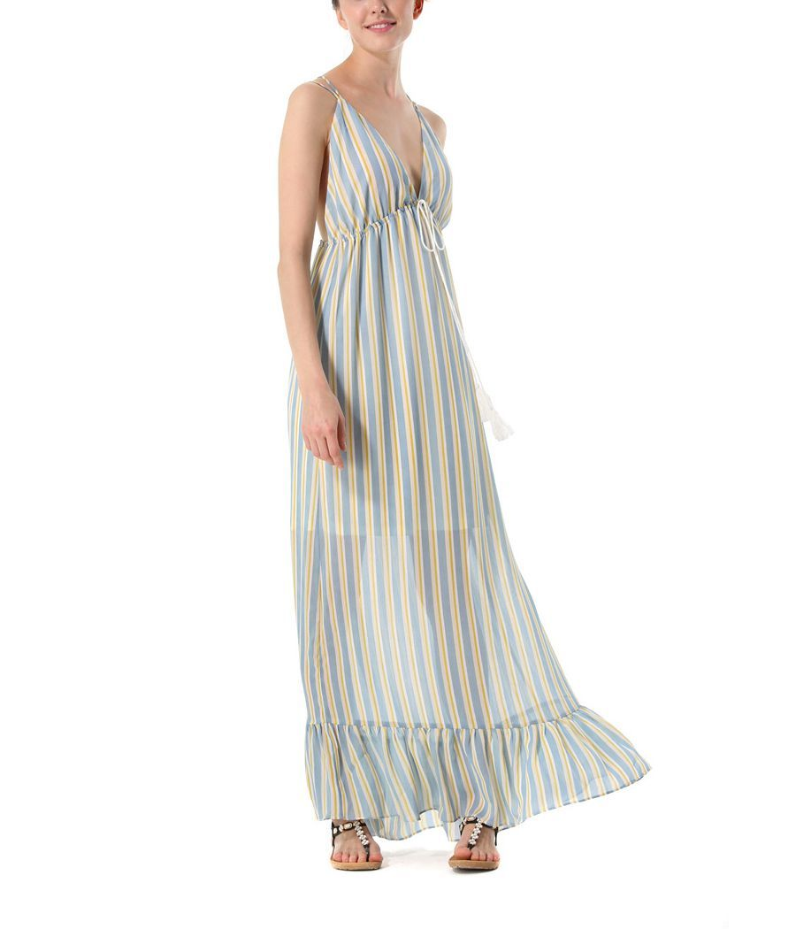 Long Casual Dress with Criss-Cross Straps