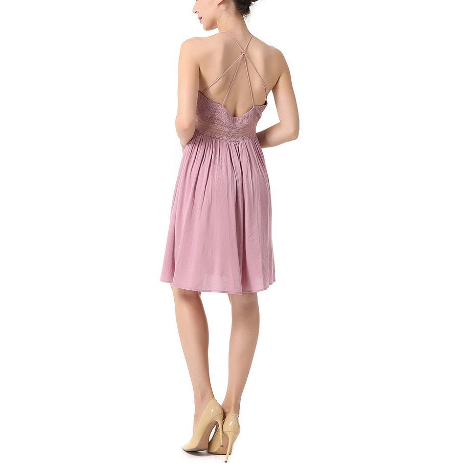 Chiffon Cocktail Dress with Spaghetti Straps