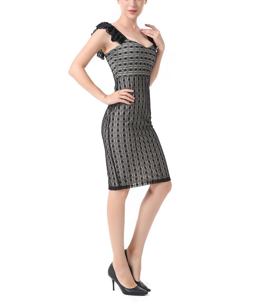 Sheath Cocktail Dress with Ruffled Straps