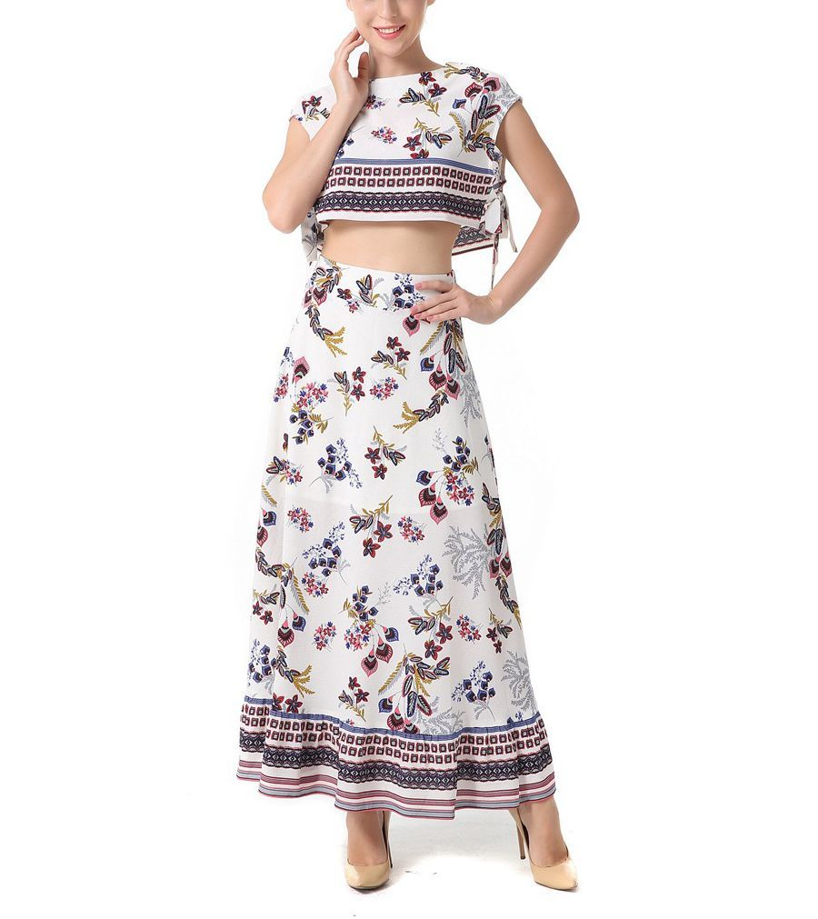 Border Print Crop Top and Skirt