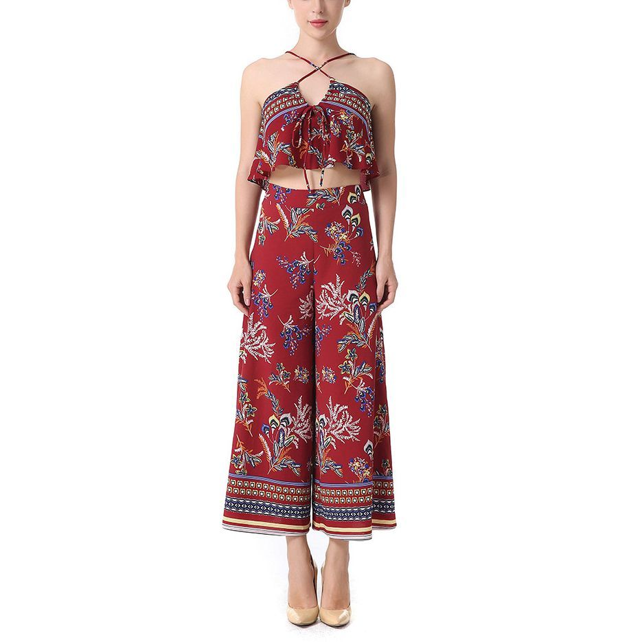 Chiffon Print Top and Trousers