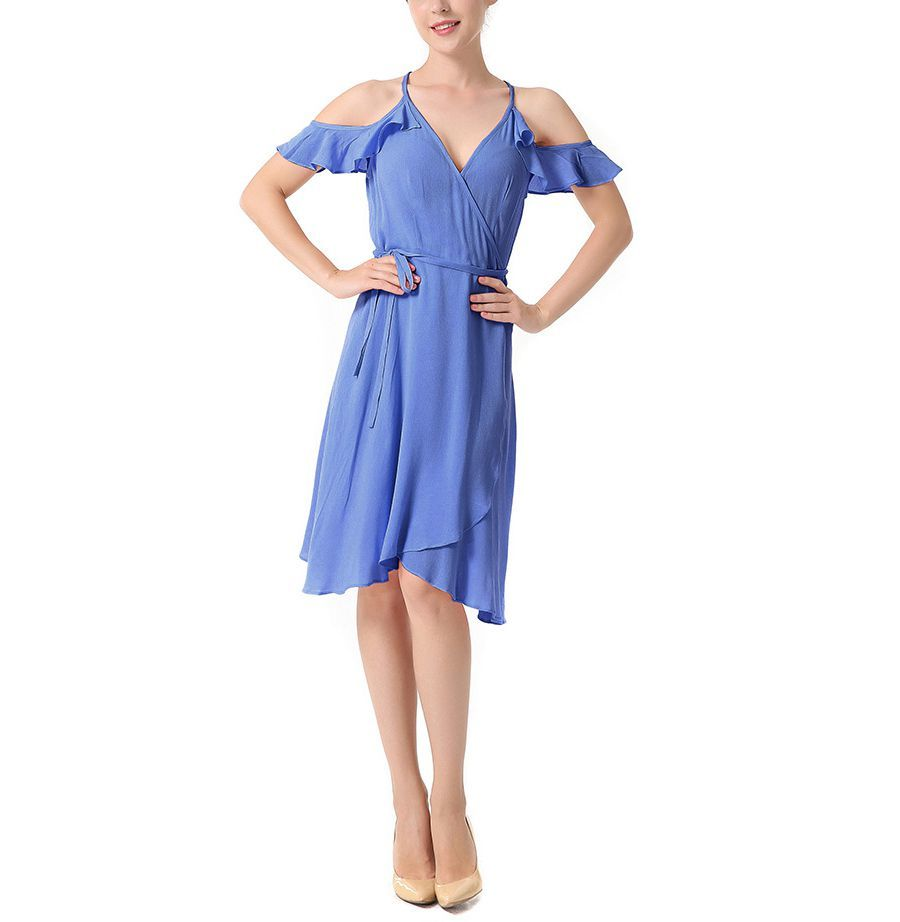 Wrapped Front Cocktail Dress with Cold Shoulders