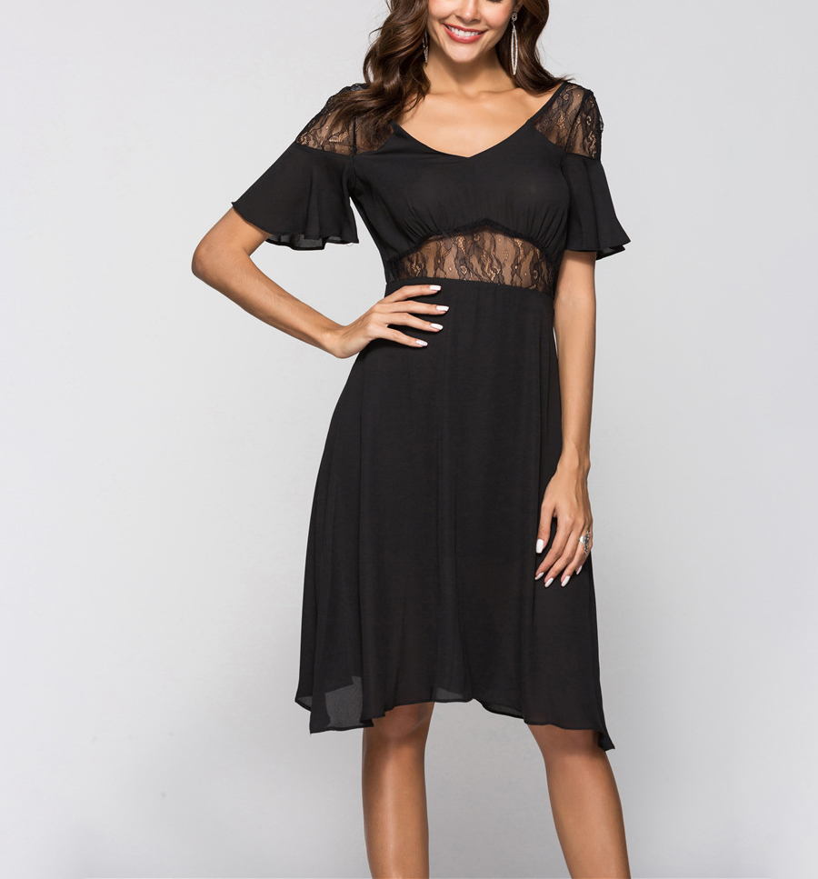 Club Dress in Chiffon and Lace