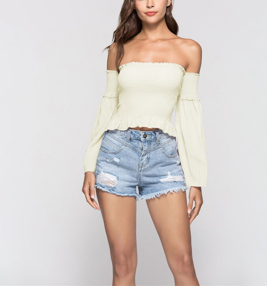 Smocked Top with Detachable Off-Shoulder Sleeves