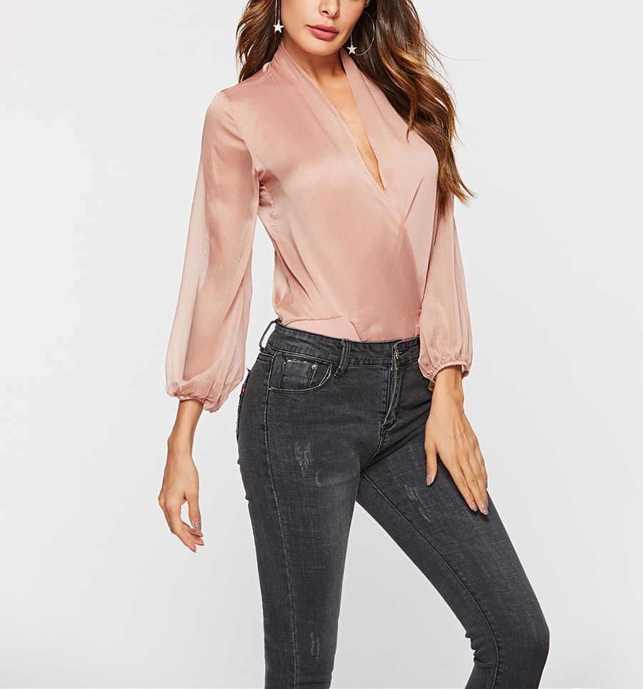 Plunge Neck Bodysuit Top with Long Sleeves