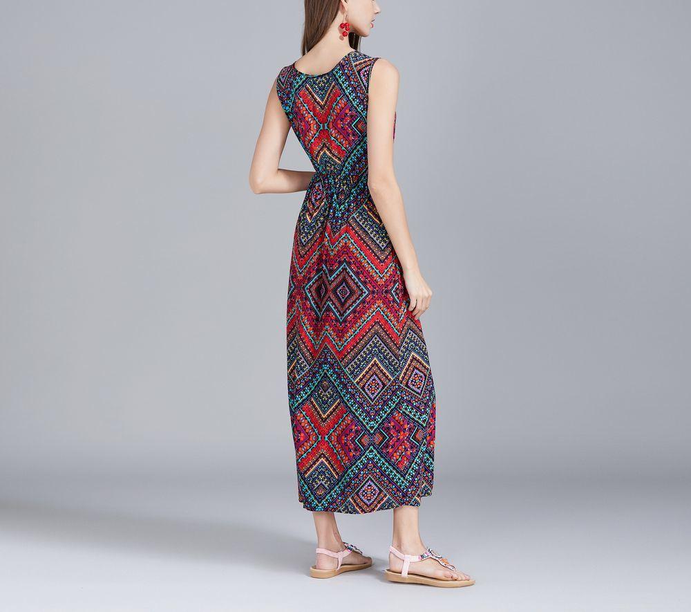 Geometric Print Casual Dress in Chiffon