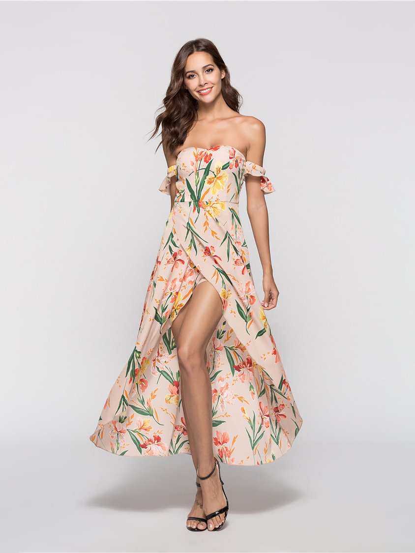 Off-Shoulder Chiffon Cocktail Dress