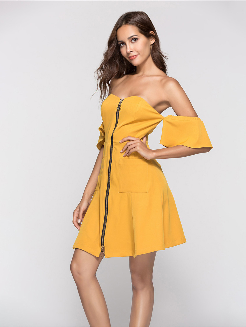 Casual Dress with 2-Way Zipper Front