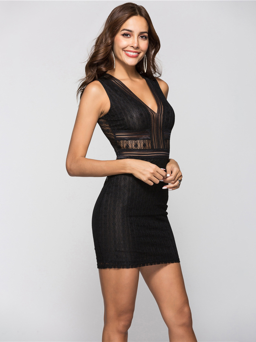 Bodycon Club Dress in Lace Fabric